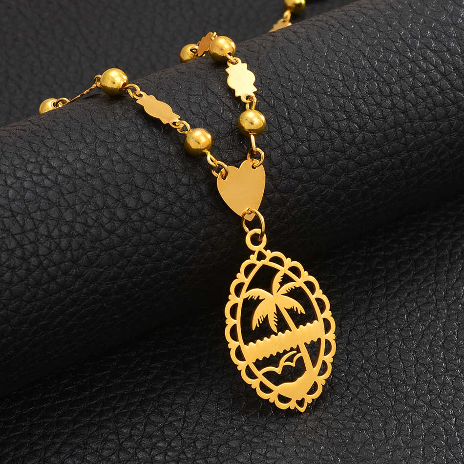 Anniyo Personalized Name Pendant Bead Chains Women Men Hawaii Marshallese Jewelry Micronesia Guam Customized letters #075521