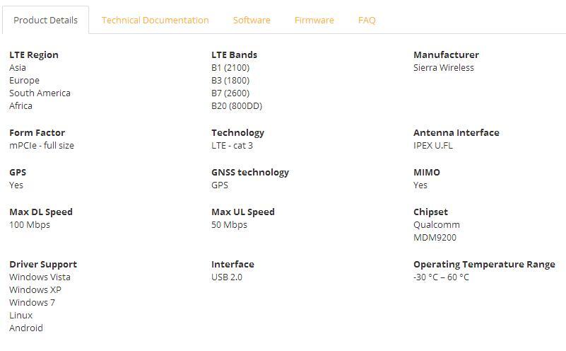 Купить с кэшбэком MC7710 4G LTE Module SKU 1101752 support B1 B3 B7 B8 B20 CAT3 100M HSDPA / HSUPA / HSPA