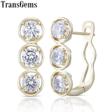 Transgems Geuine 14K 585 Yellow Gold 2.4CTW 4.5mm F color Moissanite Hoop Earrings for Women U Shaped Huggies