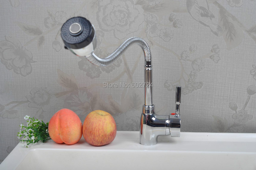Free shipping Kitchen Faucet Chrome Swivel Deck Mounted Single Hole Faucets Mixers Taps QH14105K