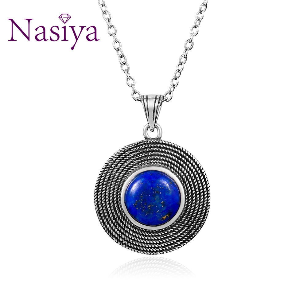 Naisya Vintage Silver 925 Stertling Necklace Lapis Lazuli Natural Stone for Women Daily Wear Gift