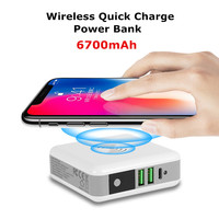 6700mAh Wireless Quick Charge Power Bank For iPhone Xiaomi Protable Travel Phone Battery Charger External Dual USB Power Charger