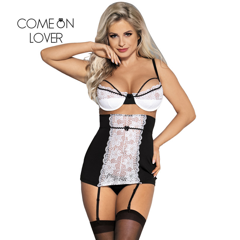 Comeonlover Nuisette Grande Taille Sexy Black And White Lace Porno Lingerie Dentelle Plus Size Sexy Lingerie Sleepwear RI80427