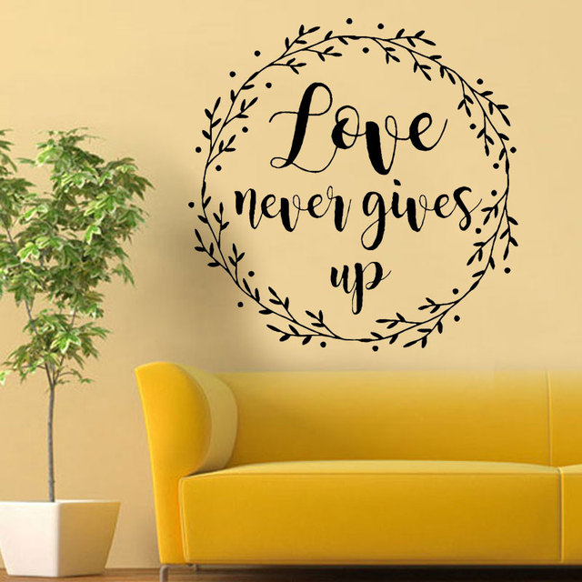 Love Never Gives Up Wall Decals Vinyl Wall Stickers Quotes Living ...