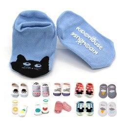 Хлопковые носки для новорожденных; носки-тапочки для мальчиков и девочек с милыми рисунками животных; детские носки для малышей; нескользящ...