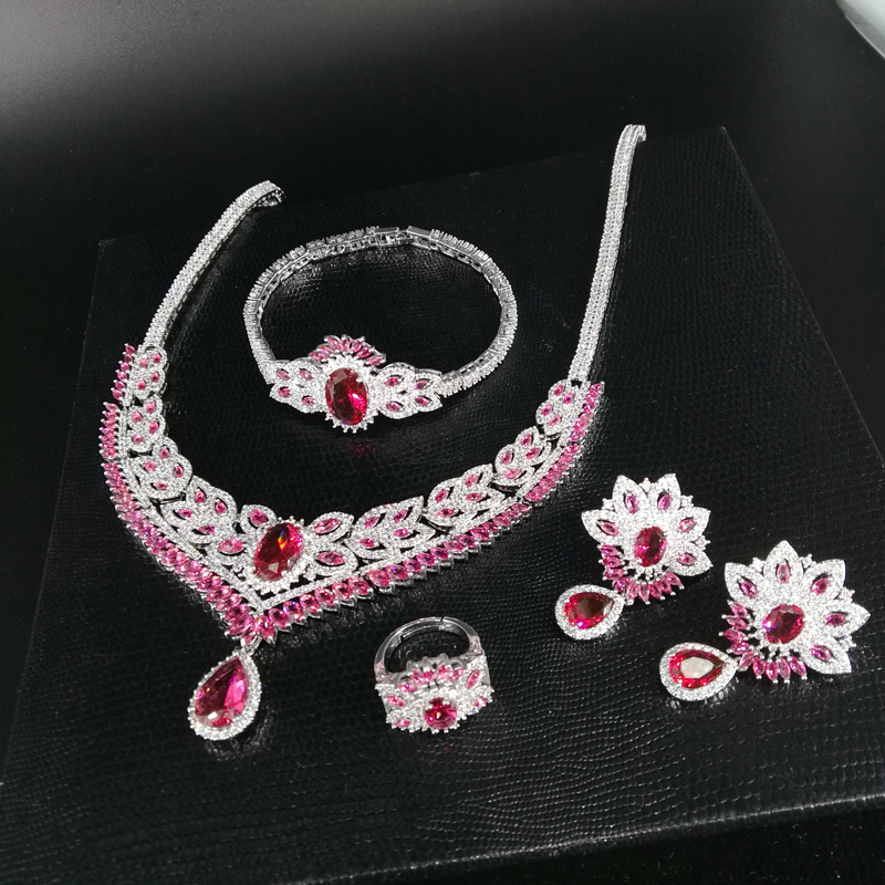 все цены на NEW FASHION Retro red zircon necklace earring bracelet ring wedding bride banquet formal dress popular jewelry set free shipping