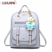 LDAJMW New Arrivals Women Backpacks Solid Fashion Leather zipper Backpack Teenager School Bags Mochila