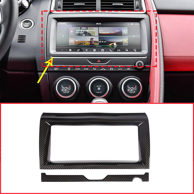 Carbon Fiber Style ABS Car Interior Navigation Frame Trim For Jaguar E PACE E PACE 2018