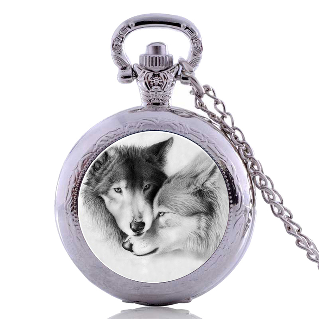 Drop Shipping Antique Punk White Wolf Mens Kids Womens Boys Quartz Pocket Watch