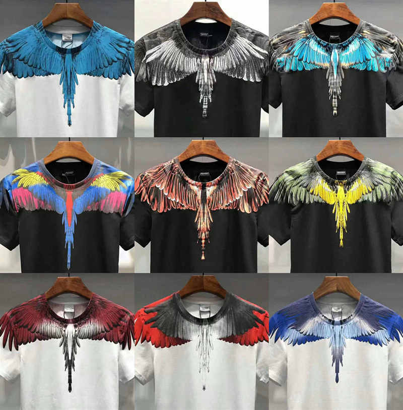 19SS Marcelo Burlon Top Tees Men Women 3D Italy RODEO MAGAZINE Marcelo Burlon T Shirt Feather Wings Marcelo Burlon T-shirts
