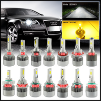 LED 72W 7600LM Headlight Kit Bulbs H4 H7 H10 H11 H13 5202 9004 9005 9006 9007