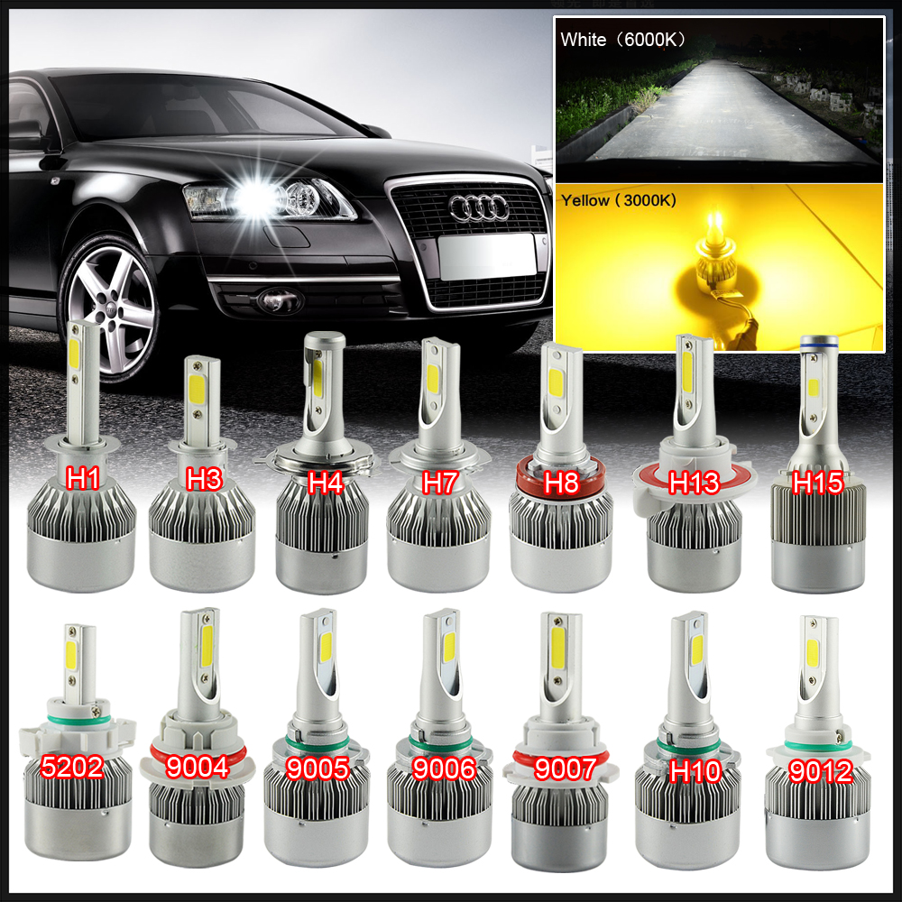 2X H7 Led H4 Car Headlights 72w 7600lm Car Led Light Bulbs H1 H4 H8 H9