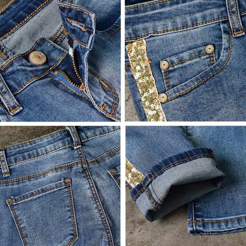 Pantalones vaqueros de mezclilla de longitud completa para mujer, pantalones de cintura baja, pantalones ajustados, talla grande y rayas laterales doradas 2019 - 6