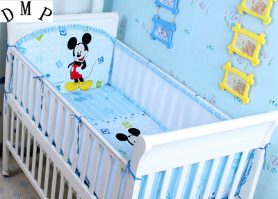 Promotion! 5PCS Cartoon Baby Bumper Set baby bedding set Crib Bumper crib bedding set,include:(bumper+sheet)