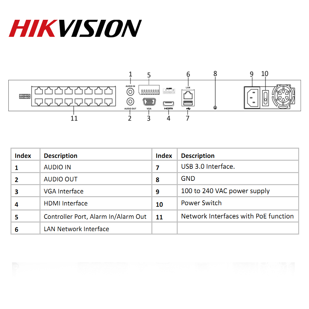 Hikvision POE NVR DS-7616NI-I2/16P 16CH H.265 12mp POE NVR for IP Camera Support Two way Audio HIK-CONNECT