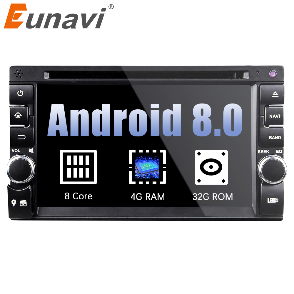 Eunavi 4G RAM 2 Din Octa 8 core Universal Android 8.0 Car PC GPS Navigation Stereo Radio Audio mp3 Player Bluetooth iPod wifi