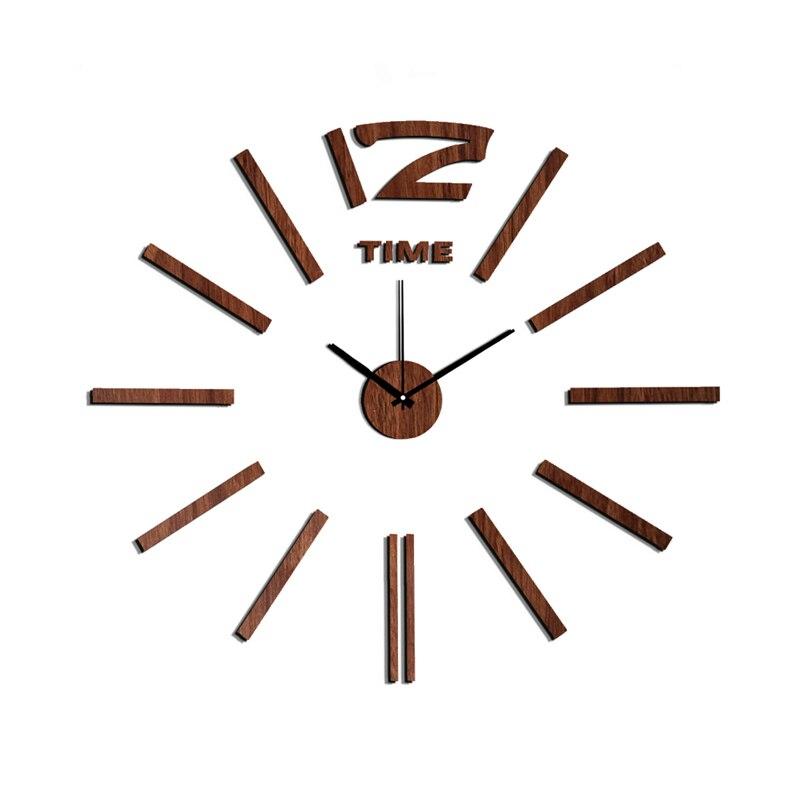New Arrival 10EW103 Módní nálepka EVA kuchyňské nástěnné hodiny Dřevěné barvy velké dekorativní 3d diy nástěnné hodiny velké