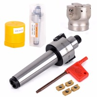 Mayitr 1pc 50mm MT3 FMB Shank Face End CNC Mill Cutter With 4pcs APMT1604 Inserts And