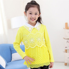 New White Lace Girls School Shirts Blouses For Girls 4-12Y Long Sleeve For Teenager Cotton Kids Outerwear KD-1640-2