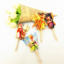 24pcs princess cupcake toppers Inserted Card With Flower Fairy Birthday Chritmas Paper Bamboo Prod Toppers Cupcake Decoration