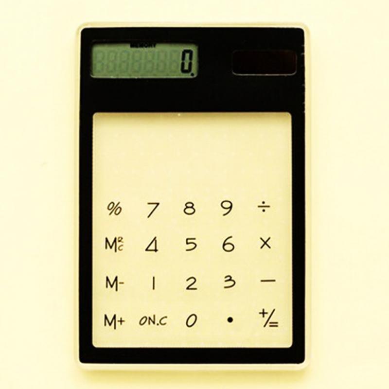 1 шт. Портативный Солнечная карточка Калькулятор Мини-прозрачный питанием 8 цифр электронный калькулятор с большой кнопкой научный калькул...