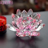 Wholesale Pink Crystal Lotus Candle Holder Diameter 100mm Hole 40mm