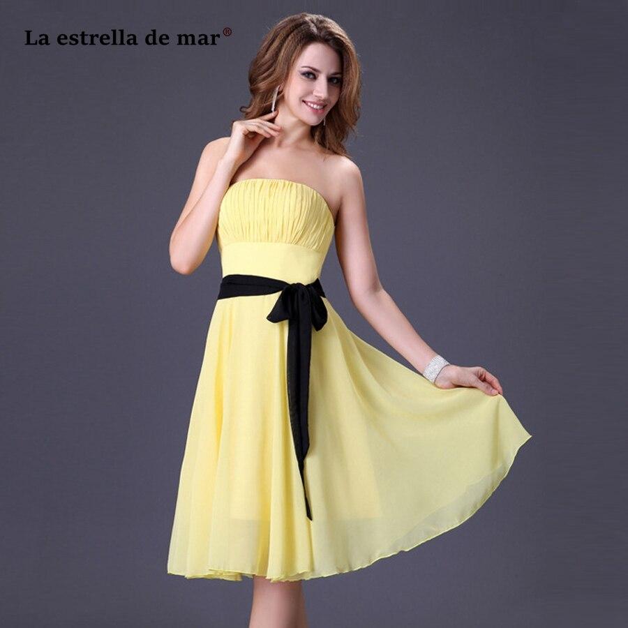 La estrella de mar vestidos para bodas invitadas chaud en mousseline de soie sans bretelles blanc rouge clair jaune rouge noir robe de demoiselle d'honneur thé