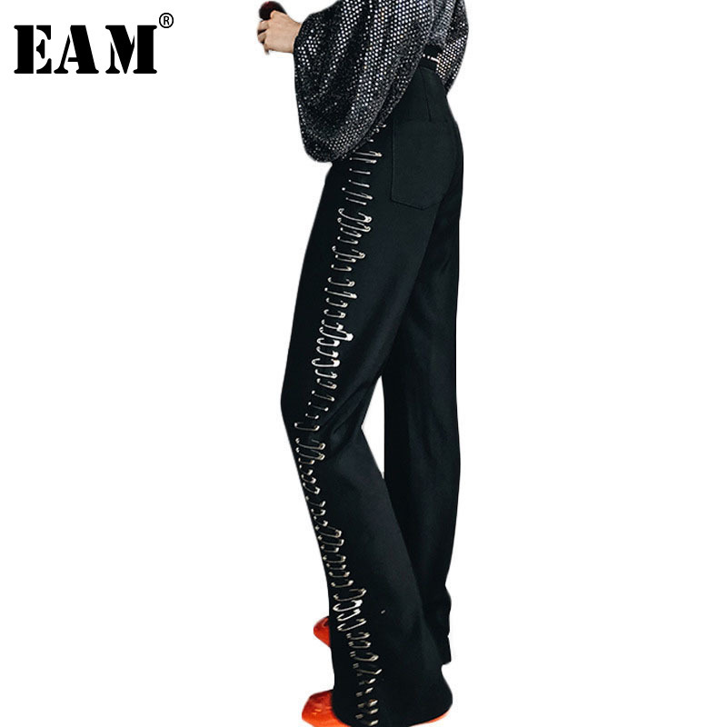 [EAM] 2019 New Spring High Elastic Waist Black Pin Split Joint Loose Long   Wide     Leg     Pants   Women Trousers Fashion JH094