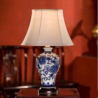 Китайский Цзиндэчжэнь синий и белый фарфор цветочным узором Настольные лампы Ретро теплая одежда лампа для спальни и фойе и чайный стол