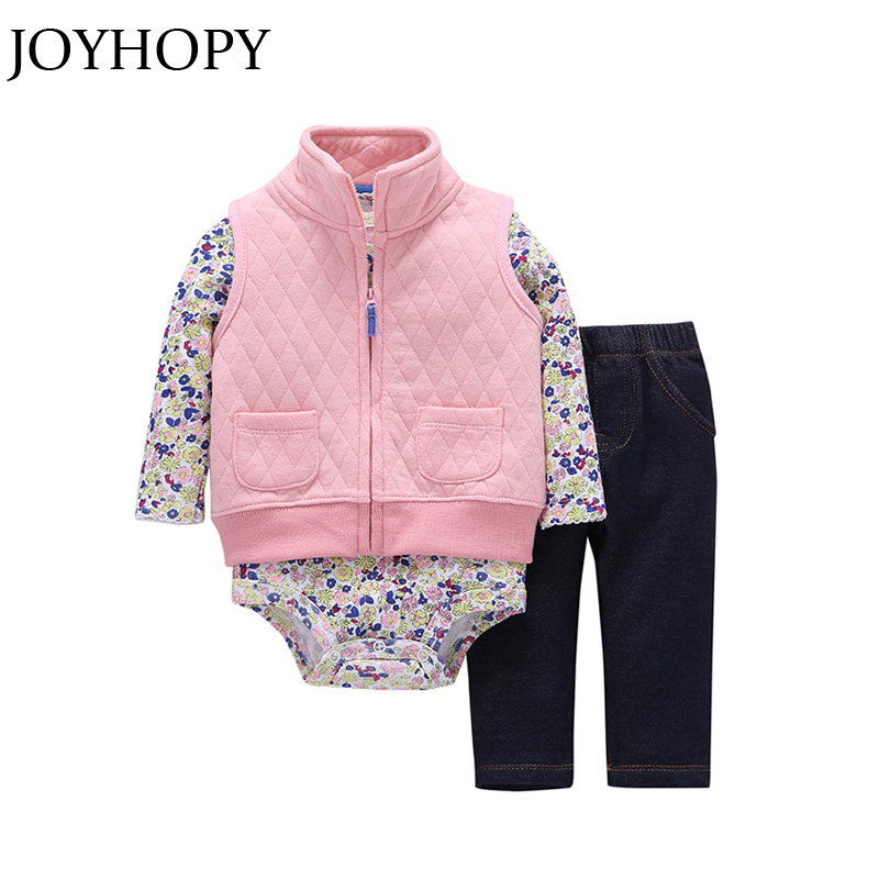 JOYHOPY Newborn Infant Baby Girls Clothes Set Spring 3PCS Romper+ Waistcoat +Pants Enfant Girl Outfit Set 3pcs set newborn infant baby boy girl clothes 2017 summer short sleeve leopard floral romper bodysuit headband shoes outfits