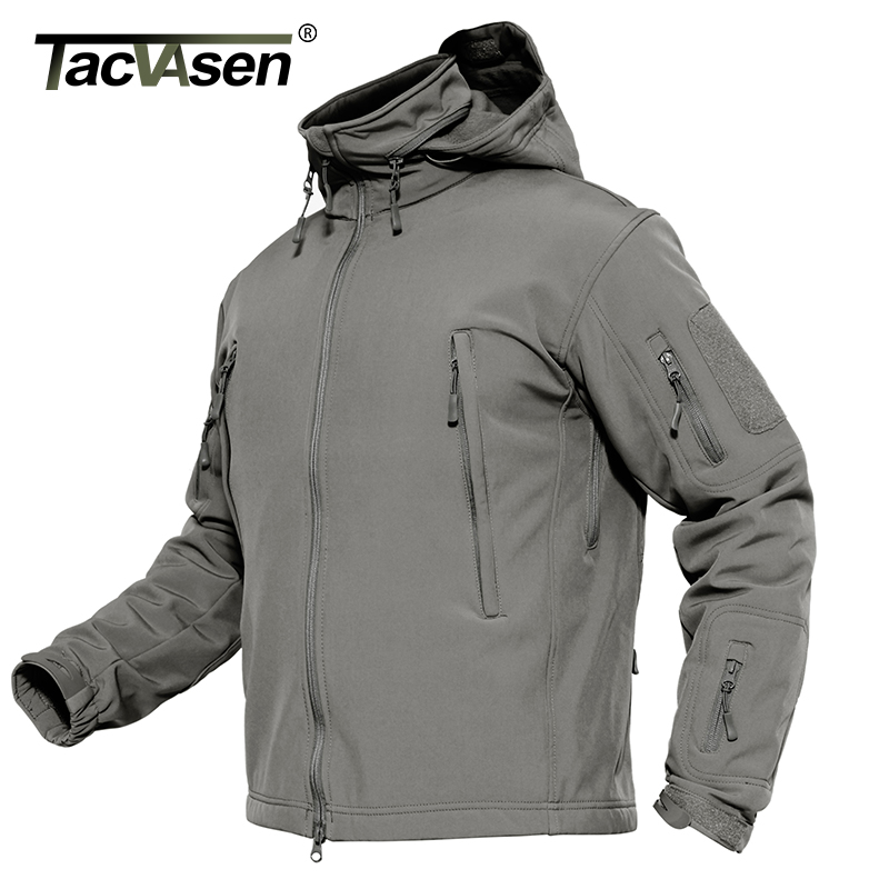 Tacvasen Men Military Jacket Coat Waterproof Tactical Jacket Winter Soft Shell Hunt Jackets Army Removable Hooded Windbreaker #4