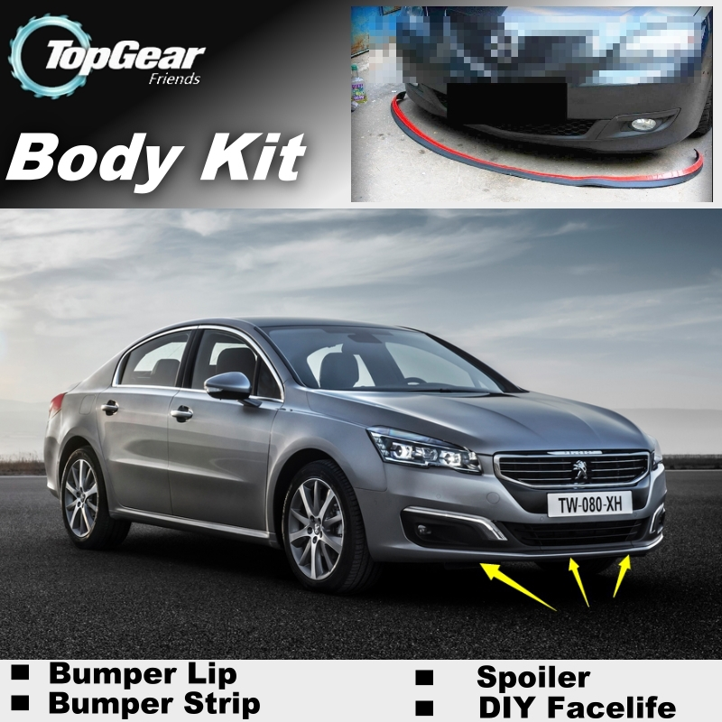 top gear пежо 406 - Bumper Lip Deflector Lips For Peugeot 406 407 408 508 Front Spoiler Skirt For TopGear Fans Car View Tuning / Body Kit / Strip