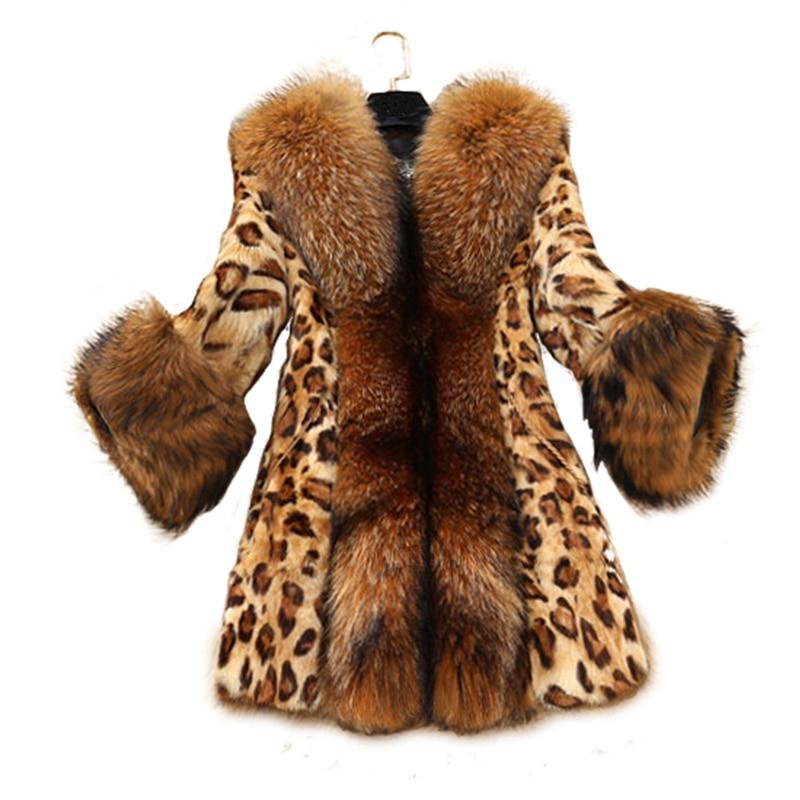 2019 Winter women Sexy Leopard Print faux fur coat Luxurious slim warm fox fur jacket warm plus size 5XL fur coat FP0196-in Faux Fur from Women's Clothing    1
