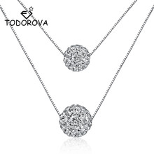 Todorova Double Layer 8mm+10mm CZ Cubic Zircon Crystal Lucky Ball Pendant Necklace for Women Gift collares todorova clear cz cubic zircon double round circle forever pendant necklace for women simple geometric necklace jewelry gift