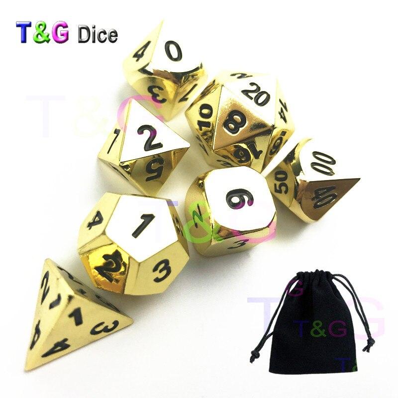 T&G Creative RPG Shinny Light Golden Metal Dice 7pcs/set Of  D4 D6 D8 D10 D12 D20 D% With A Black Bag For Games Ludo Player