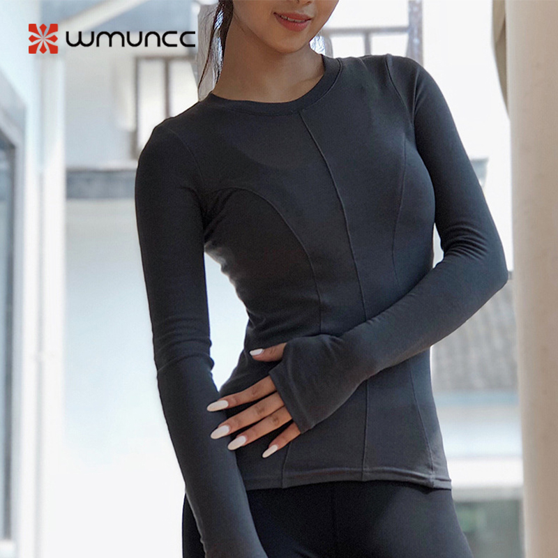 Women Yoga Shirt Long Sleeve With Thumb Hole Slim Sport Top Comfy Tight Elastic Breathable Quick Dry Activewear For Gym Running