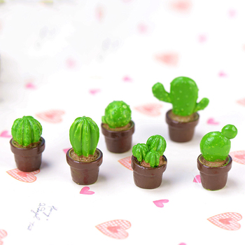 ZOCDOU 1 Piece Mini Green Potted Plants Lovely Cactus Desert Cacti Home Ornament Small Statue Little Figurine Crafts Cute Deco image