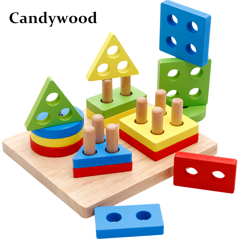Kids Education Montessori Toys Four sets of Columns With Geometric Shapes Building Blocks matching color blocks cross the border wooden stacking train vehicle building blocks kids educational montessori geometric assemb matching cognitive blocks toys