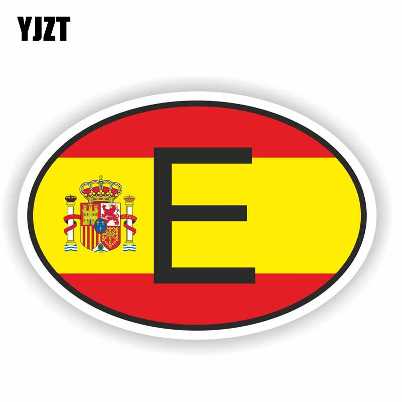YJZT 17.8CM*11.9CM E SPAIN Country Code Funny Car Motorcycle Personality Decal Car Sticker PVC 6-0210
