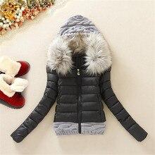 Winter Jacket Women 2017 Short Jacket Female Cotton Wool Stitching Women's Down Jacket Fur Collar Winter Coat Plus Size DM857