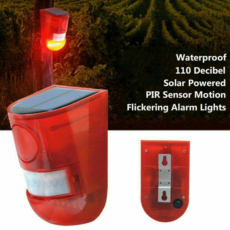 Solar Powered Security Alarm Light PIR Yard Motion Sound Sensor Waterproof