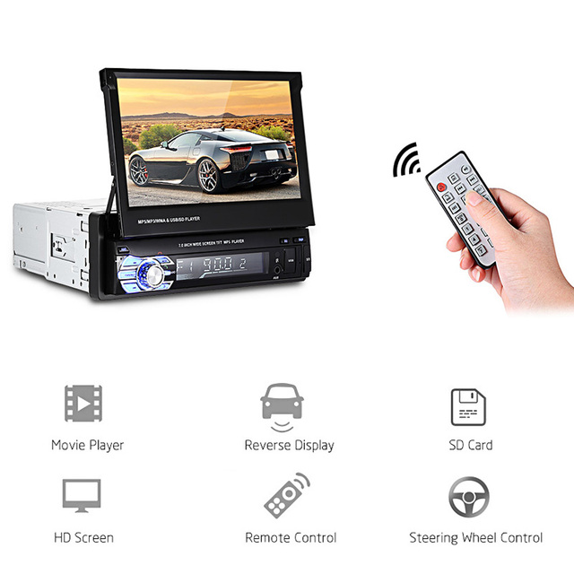 Universal 9601 Bluetooth Retractable Car MP5 Players FM Auto Radio Car Multimedia Player Remote Control support Rearview Camera