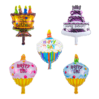 KUAWANLE 250pcs/lot Mini Birthday Cake Party Supplies Foil Balloons Inflatable Air Toys Happy Birthday Party Decoration Globos