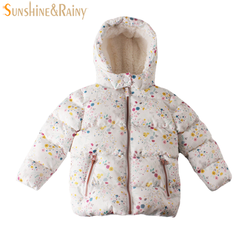 Kids Winter Jacket For Girls Parka Flower Patch Cartoon Children Outerwear & Coats Lamb Velvet Kids Padded Jacket Warm Snow Wear children winter coats jacket baby boys warm outerwear thickening outdoors kids snow proof coat parkas cotton padded clothes