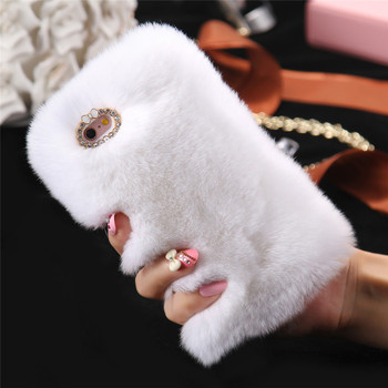 10pcs/lot 5S SE Fur Case Luxury Rabbit Hair Hard Phone Case For iPhone 6 6s 6plus Cute Hairy Bling Diamond Slim Back Cover Capa