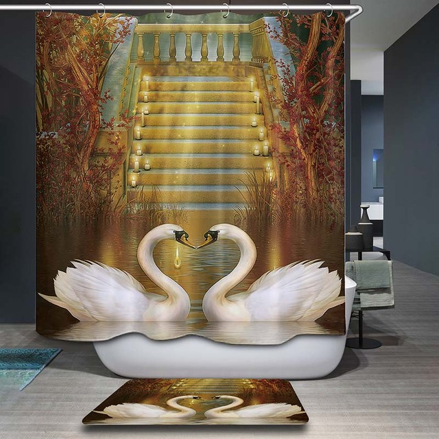 DecorUhome Polyester Waterproof Heart Swan Oil Painting Crane Shower Curtain Bathroom Curtains 12 Hooks Mildewproof Bath