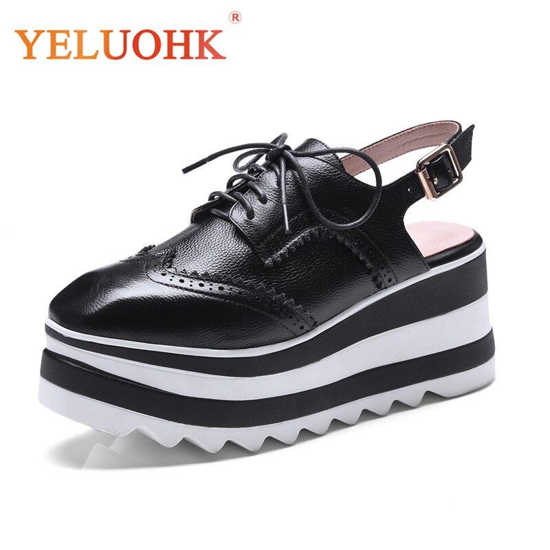 Platform Shoes Women Heels Genuine Leather Slingbacks Shoes Heels Top Quality High Heels 7 CM цена