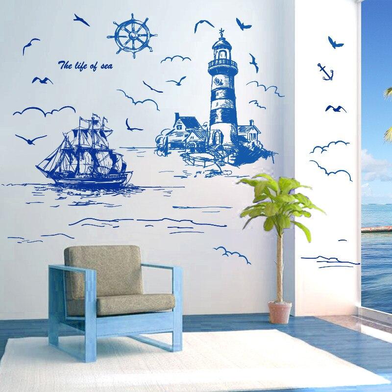 [SHIJUEHEZI] Sailing Boat Lighthouse Birds Wall Sticker Vinyl DIY Mural Art for Living Room Decoration adesivo de parede