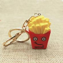 Hot sale food keychain Cartoon fries keyring DIY pendant lovely gifts hanging accessories 1pcs YY101313