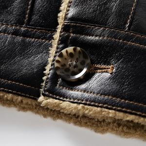 Image 5 - FGKKS 2020 Men PU Leather Jacket Winter Thick Warm Pilot Jacket Male Fur Collar Jacket tactical Men Jacket Coat
